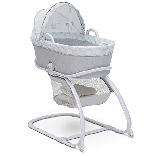 Delta Children Deluxe 2-in-1 Moses Bedside Bassinet Portable Crib, Windmill