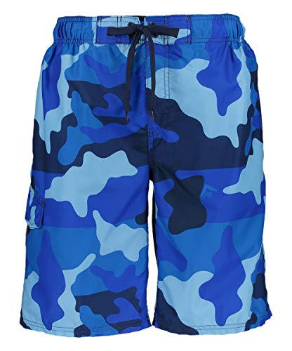 Blue Swimming Suit - Kanu Surf Men's Miles Swim Trunks (Regular & Extended Sizes), Surf Camo Navy, X-Large