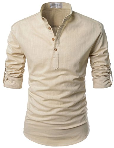 TheLees NKN350 Transform Roll-up Sleeve Mandarin Henley Neck Linen Shirts Beige US XL(Tag Size XL)