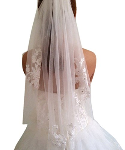Odrobe Women's 2 Tier Lace Appliques Cut Edge Tulle Bridal Veil Elbow Medium Length Wedding Veil - Elbow Lace