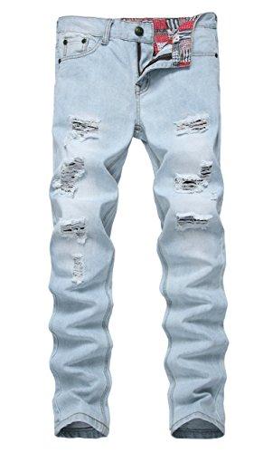 NITAGUT Men's Ripped Slim Fit Tapered Leg Jeans Vintage Blue-US 28