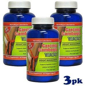 MaritzMayer Garcinia cambogia 1300, 60 capsules végétariennes, 500 mg par gélule, 60% d'extrait HCA - (3 Pack)
