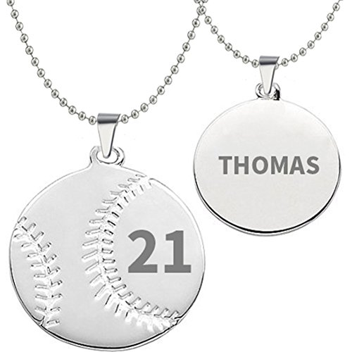 HACOOL 925 Sterling Silver Personalized Unisex Men Baseball Necklace Custom Made with Any Name & Number (Men:2.32.3 cm+22 inch - Necklace 30 Baseball
