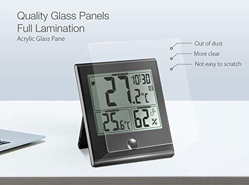 DIGOO TH-1180 Termómetro digital interior/exterior, higrómetro, temperatura humedad, reloj con función de alarma, panel de cristal, gran pantalla de LCD, ...
