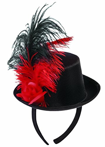 Forum Novelties 80460 Mini Top Hat with Feather Decoration, Red/Black, One Size ()