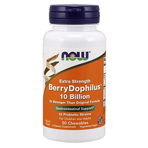 - NOW Supplements, BerryDophilus, Developed for Adults & Children with 10 Probiotic Strains, Extra Strength,Strain Verified, 50 Chewables