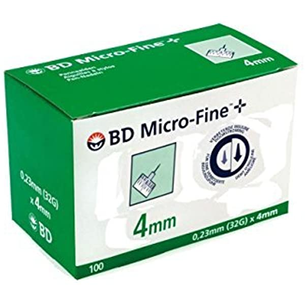Amazon Com Bd Micro Fine Pen Needle 32g 0 23mm X 4mm By Bd Medical Health Personal Care