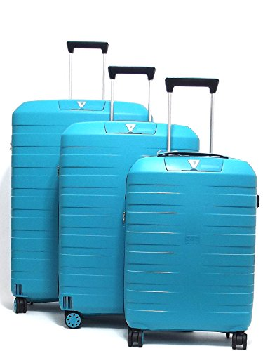Roncato set tre trolley viaggio, Box 5510-0167 trolley cabina+trolley medio+trolley grande rigidi in polipropilene, colore smeraldo