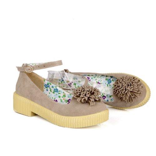 AmoonyFashion Womens Closed Round Toe Low Heel Chunky Heels PU Soft Material Solid Pumps with Flower Beige qAUq8XEj4