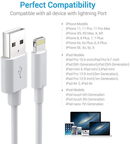 Lightning Cable MFi Certified - iPhone Charger 3Pack 3FT Lightning to USB A Charging Cable Cord Compatible with iPhone 13 12 SE 2020 11 Xs Max XR X 8 7 6S 6 Plus 5S iPad Pro iPod Airpods - White