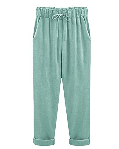 Qitun Donna Pantaloni Lungo Leggeri Pantaloni Delle Signore Perfetto Per Casual E Ufficio 3/4 Di Lunghezza Lago Verde