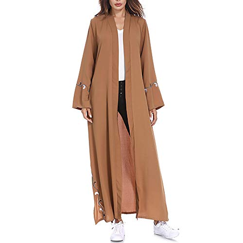 Preferential New Zlolia Women Solid Muslim Islamic Embroidered Cardigan Long Coat Middle East Long Robe for $<!--$21.19-->