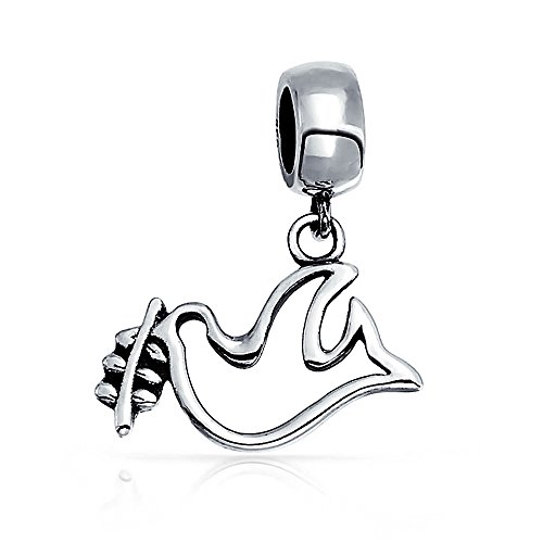 World Peace Open Dove Love Bird Dangle Charm Bead For Women Teens 925 Sterling Silver Fits European Bracelet ()