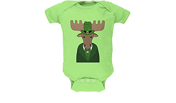 St Patrick/'s Day Irish Leprechaun Moose Soft Baby One Piece