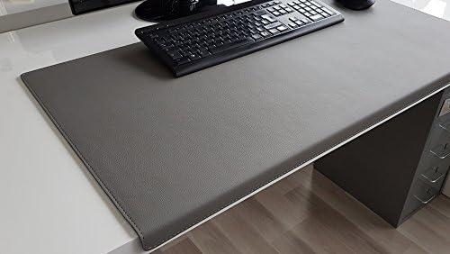Gewinkelte Schreibtischunterlage mit Kantenschutz sanft lux Leder 60 x 38 Grau