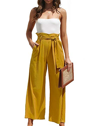 Relipop Women's Trousers Belted High Waist Wide Leg Palazzo Lounge Loose Pants Yellow