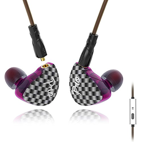 Wire Earphones New Yinyoo Pro Heavy Bass in Ear Earbuds Stereo Sound Noise Cancelling Headphone Headset with Remote Control Microphone MMCX BA and DD for Smart Cell Phone Mp3 Music Player(purple mic)