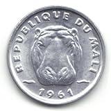 1961 Mali 5 Francs Coin KM%232