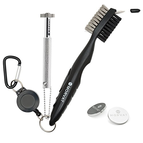 Morvat Golf Club Sharpener Groove Cleaner 2 Sided Bristle Brush Kit - Keychain- Includes 2 Heavy Duty Silver Ball Markers- Improved Backspin Ball Control