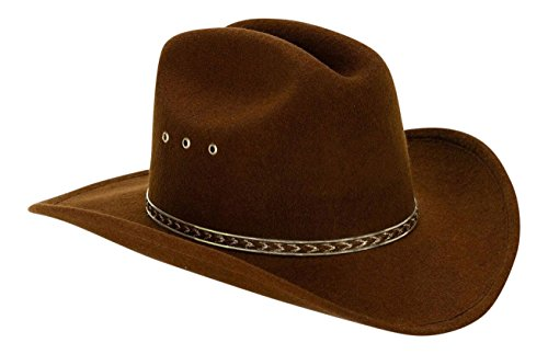 Western Child Cowboy Hat For Kids (Brown/Gold Band) - One Size (Elastic Band)