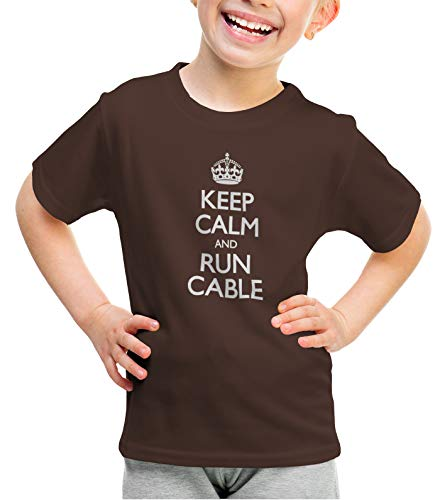 shirtloco Girls Keep Calm and Run Cable Youth T-Shirt, Dark Chocolate Small