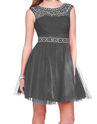 Tanzenkleider Attraktive Grau Charmant Mini Abendkleider Damen Cocktailkleider Kurzes Promkleider Tuell aq5pYw