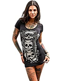 Women's Summer Short Sleeve Skull Printed Shirt Dress Casual Party