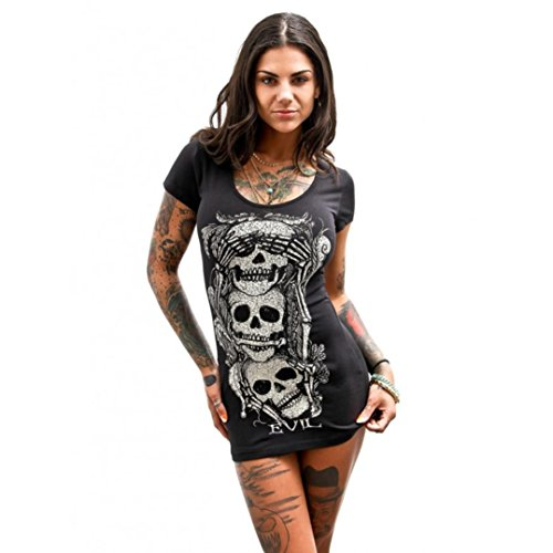 GBSELL Women's Summer Sleeveless Skull Printed Shirt Dress Casual Party (XL, Black)