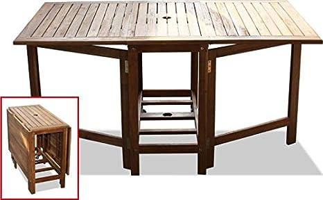 Tavolo Giardino Legno Richiudibile.Tavolo In Legno 150x90x74 Acacia Pieghevole Porta Sedie Sedie Non Incluse
