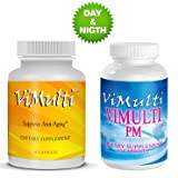 Vimulti Anti-Aging Breakthrough Supports Natural Weight Loss, Healthy Hair, Skin And Energy With Amino Acids & Sleep Better with Vimulti PM Natural Sleep Formula.