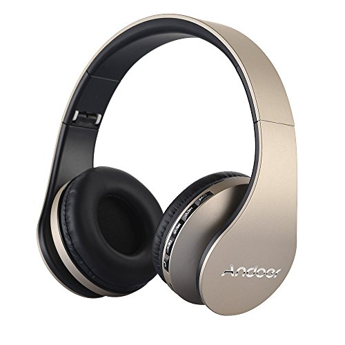 Over Ear Headphone, Andoer LH-811 Wireless Stereo Bluetooth 4.1 Earphone Headset Mic MP3 Player TF Music FM with 3.5mm Audio Cord for Smart Phones Tablet PC Notebook(Gold)