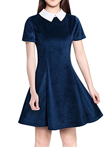 Allegra K Women's Contrast Doll Collar Short Sleeves Above Knee Flare Dress Blue M (UK 12) -