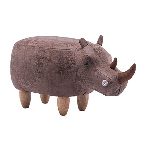 Cartoon Rhinoceros Upholstered Footstool Ottoman Pouffe Oak Solid Wood Living Room Bedroom Square Change Shoe Stool Sofa Stool(35CMx36CMx71CM) ()