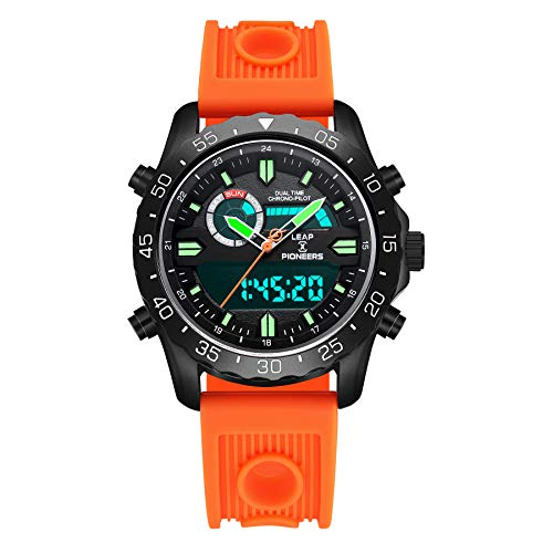 - LEAP X PIONEERS Men's Sport Watch Dual Time Wrist Watch Day Date Display Water Resistance with Orange Silicone Band