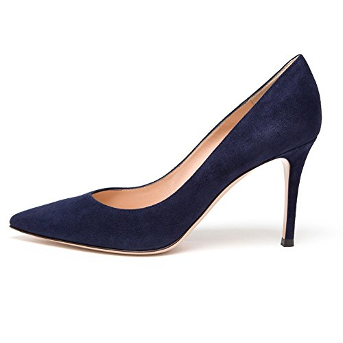 On Med Slip Platform AIWEIYi toe Pump Pointed Navyblue Shoes Fashion Women's Heel YYwqI0A