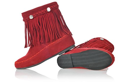 Susanny Women's Fall Spring Solid Round Toe Scrub Leather Velcro Tassels Hidden Heel Red Short Boots 10 B (M) (Red Flat Boots)