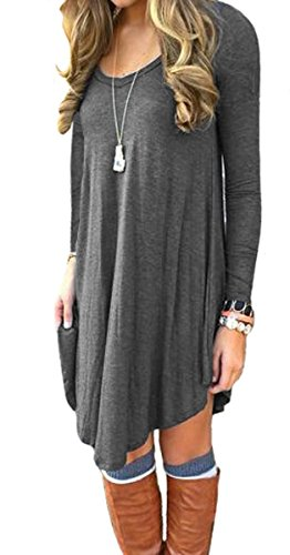 Women's T Shirt Dress Casual Loose Tunic Long Sleeve V-neck Frock by Azot (XL, Grey) (Cute Outfits Cheap)