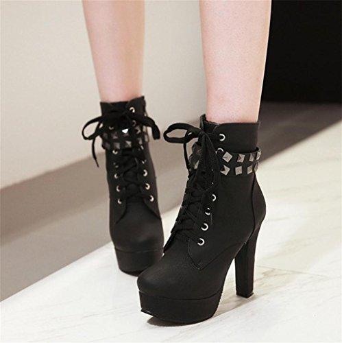 personnalité Bottes Hauts Élégant Tempérament Black Talons Bottes Femme Chaussures Talons HETAO de pSwqORR