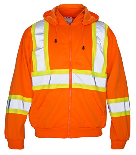SAS Safety 692-1411 Hi-Viz Class-2 Hooded Sweatshirt, XX-Large, Orange