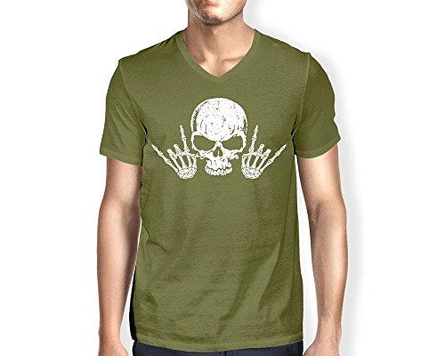Neck Roll T-shirt (Men's Rock 'N Roll Skull V-Neck T-Shirt (Olive, X-Large))