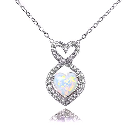 Amethyst Heart Chain (Sterling Silver Simulated White Opal and White Topaz Infinity Heart Necklace)