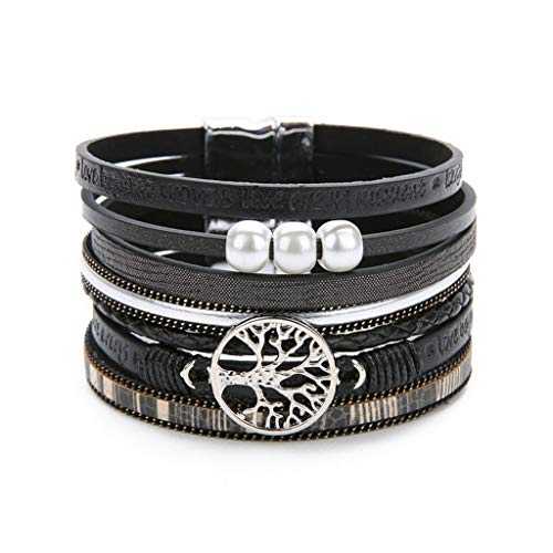 New Ethnic Multilayer Life Tree Leather Bracelets for Women Simulated Pearl New Letter Charms Bracelet Femme Jewelry Black