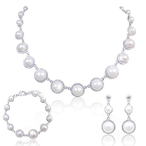 EVER FAITH Mother's Cream Simulated Pearl Jewelry Set Austrian Clear Crystal - ()