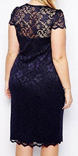 Neck Dress Size Women's Midi Short Lace Plus Sleeve Domple Bodycon Fit 1 Slim V x7YwFqqEZ