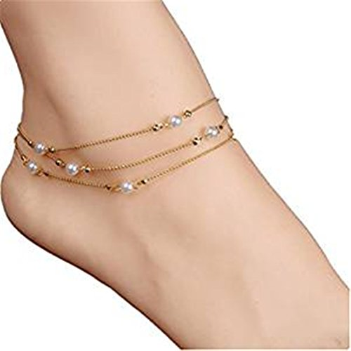 Elaco Women Beach Barefoot Sandal Foot Tribal Multi Tassel Jewelry Anklet Chain ()
