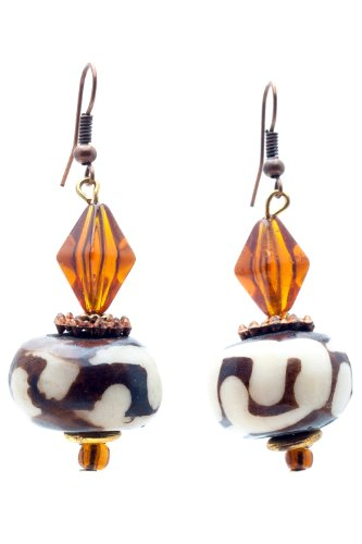 Maisha Beautiful African Fair Trade Up recycled batiked brown,white, and orange glass beaded (Fair Trade Glass)