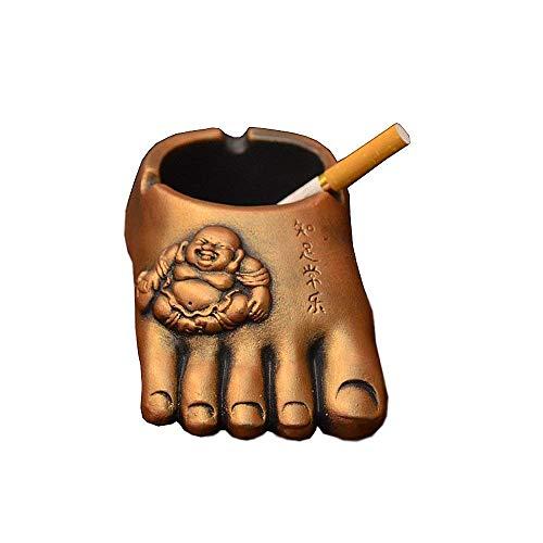 - HTFGNC Retro Retro Buddha feet Cigarette Ashtray Cigar Tray Holder Crafs Gift Household Art Decoration (Gold)