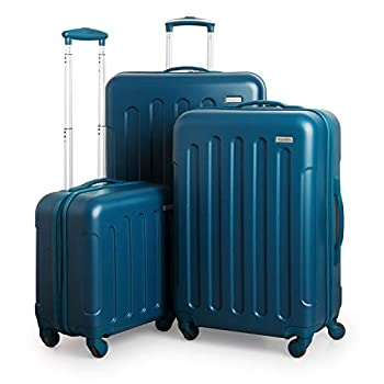 Image of SUITLINE Suitcase Set 3 Hard Shell Trolley Suitcase Cabin Luggage + Medium Suitcase + Large Travel Suitcase Set Suitcase Set, Luggage Set, 88031008, Blue, 88031008 Luggage