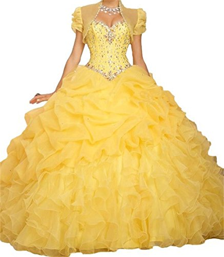 Cheap Masquerade Dresses (BanZhang Women's Cheap Ball Gown Long Prom Quinceanera Dresses Jacket Plus Size BZ314 Yellow 26 Plus)
