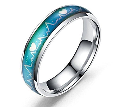 - Starryinter 6mm Stainless Steel Unisex/Couple Color-changing Heartbeat Pattern Mood Ring-CR158 (silver inside size 6)